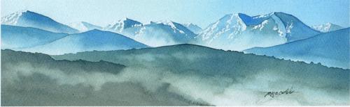柴山豊明 湯布院の四季 透明水彩画